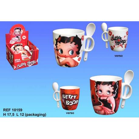 Betty Boop conico della tazza con cucchiaio - colore: bianco