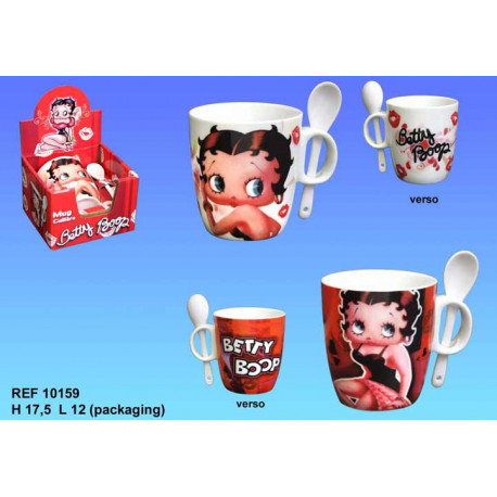 Mug Betty Boop conical with spoon - color: white