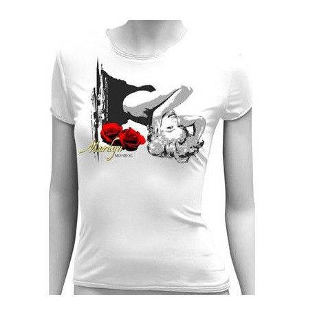 Tee Shirt Marilyn Monroe Rose de star - Taille : XL