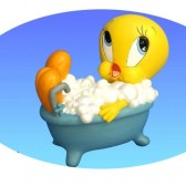 Sparschwein Tweety in seiner Badewanne