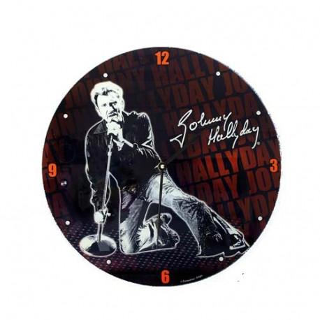 Pendule Johnny Hallyday en verre