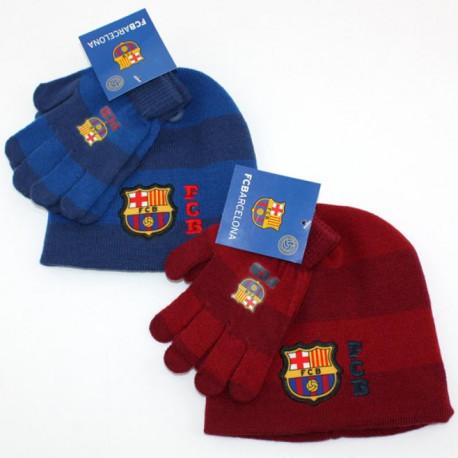 Ensemble Bonnet + gants FC Barcelone