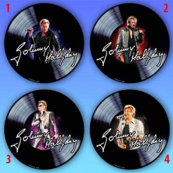 Johnny Hallyday disk Round mouse pad