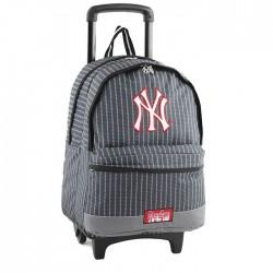 Sac à roulettes 45 CM New York Yankees Noir Couture Haut de gamme - Cartable