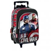 Sac à dos à roulettes maternelle Captain America Civil War 37 CM trolley - Cartable