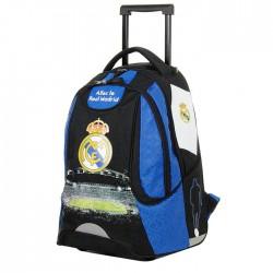 Sac à dos à roulettes 48 CM Real Madrid Bleu Xtrem Haut de gamme - 2 cpt - Cartable
