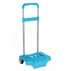 Turquoise blauwe wielen trolley voor rugzak