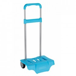 Turquoise blue wheeled trolley for backpack