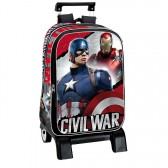 Sac à dos à roulettes Captain America Civil War 43 CM trolley Haut de Gamme - Cartable Avengers