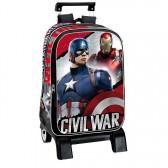 Sac à dos à roulettes Captain America Civil War 43 CM trolley Haut de Gamme - Cartable Avengers
