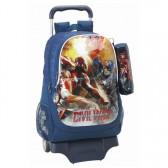 Sac à roulettes Captain America Civil War 44 CM Haut de Gamme + Trousse - Cartable