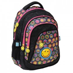Sac à dos Smiley Teen 42 CM Noir - 3 Cpt