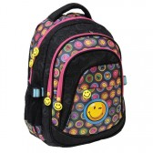Sac à dos Smiley Teen 46 CM Noir - 3 Cpt