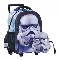 Sac à roulettes trolley maternelle Star Wars Trooper 31 CM + Masque