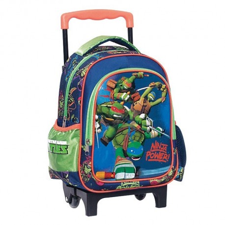 Sac à roulettes trolley maternelle Tortue Ninja Power 31 CM - Cartable