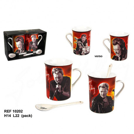 coffret cadeau 2 mugs et cuilli res johnny hallyday. Black Bedroom Furniture Sets. Home Design Ideas