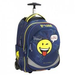 Mochila con ruedas Smiley 45 CM - 2 cpt - Trolley escolar