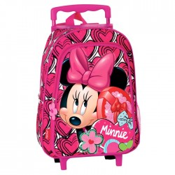 Sac à dos à roulettes maternelle Minnie 37 CM trolley Rose - Cartable