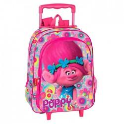 Sac à dos à roulettes maternelle Trolls Poppy Happy 37 CM trolley - Cartable