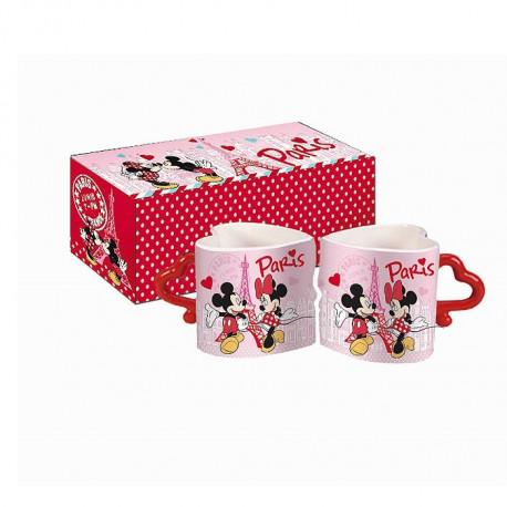 set of 2 mugs minnie heart. Black Bedroom Furniture Sets. Home Design Ideas