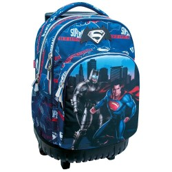 Sac à dos à roulettes 45 CM Batman Vs Superman Heroes Haut de gamme - 2 cpt - Cartable