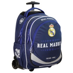 Sac à dos à roulettes 47 CM Real Madrid Blue Haut de gamme - 2 cpt - Trolley Cartable