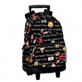 Mochila premium de carretilla de patín Emoji hablar 42 CM - encuadernación
