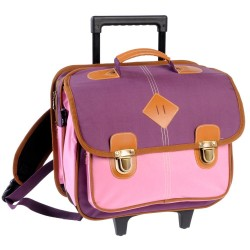 Schoolbag 38 CM Feather wheeled pink high-end - girl