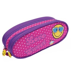Trousse Smiley rose 21 CM - 2 cpt