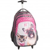 Rolling Backpack Dog and Cat Pink 45 CM Trolley