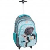 Monopatín del perro y el gato mochila rosa trolley 45 CM - encuadernación