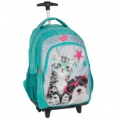 Skateboarding dog and cat gray 45 CM trolley - satchel backpack