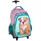 Skateboarding dog Rachael Violet 45 CM trolley - satchel backpack