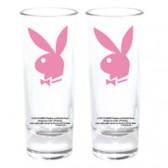 Set van 2 mini glazen Playboy Bunny roze