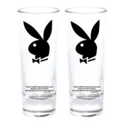 Set mit 2 Mini-Gläser Playboy Bunny schwarz