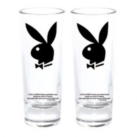 Set of 2 mini glasses Playboy Bunny black