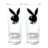 Set van 2 mini glazen Playboy Bunny zwart