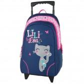 Sac à dos à roulettes Lililou le chat 45 CM Trolley bleu Haut de gamme - Cartable