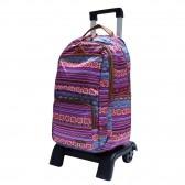 Sac à dos à roulettes Marshmallow Ethnic Violet 47 CM trolley Haut de Gamme - Cartable