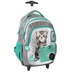 Rolling Backpack Kitten green 45 CM Studio Pets - Trolley