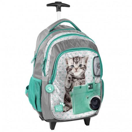 Sac à dos à roulettes Chaton Vert 45 CM Studio Pets trolley  - Cartable