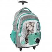 Skateboarding Hund und Katze grün 45 CM Trolley - Schulranzen-Rucksack