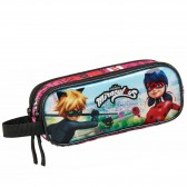 Trousse rectangle Ladybug Miraculous et Chat Noir 21 CM - 2 cpt
