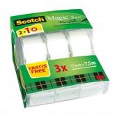 Dévidoirs ruban adhésif Scotch invisible 19 mm x 7,5 m - 2 + 1 Gratuit