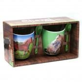 Coffret de 2 mugs Cheval