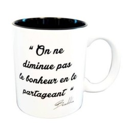 Black and white mug with quote