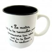 Mug noir et blanc avec citation