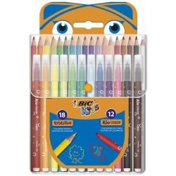 Kit para colorear BIC KIDS 18 lápices + 12 marcadores