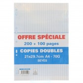 Copies doubles 300P A4 Séyès Perforées
