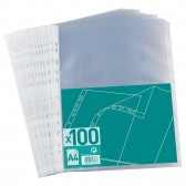 Bag 100 perforated pockets A4 polypropylene grain 4/10